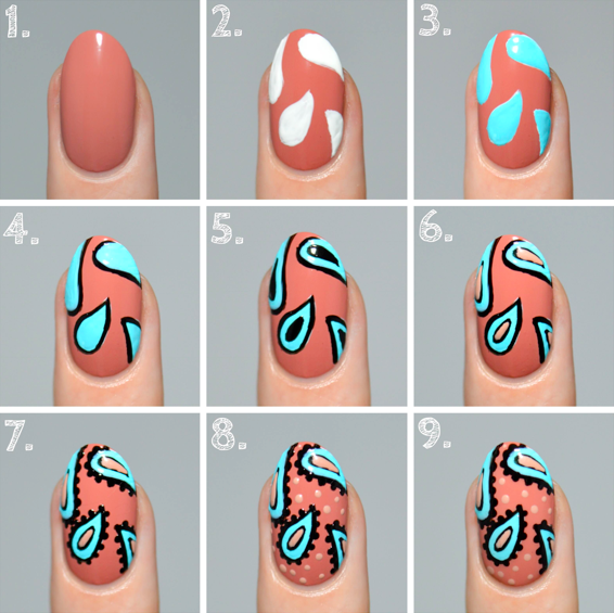 paisley nail art tutorial steps
